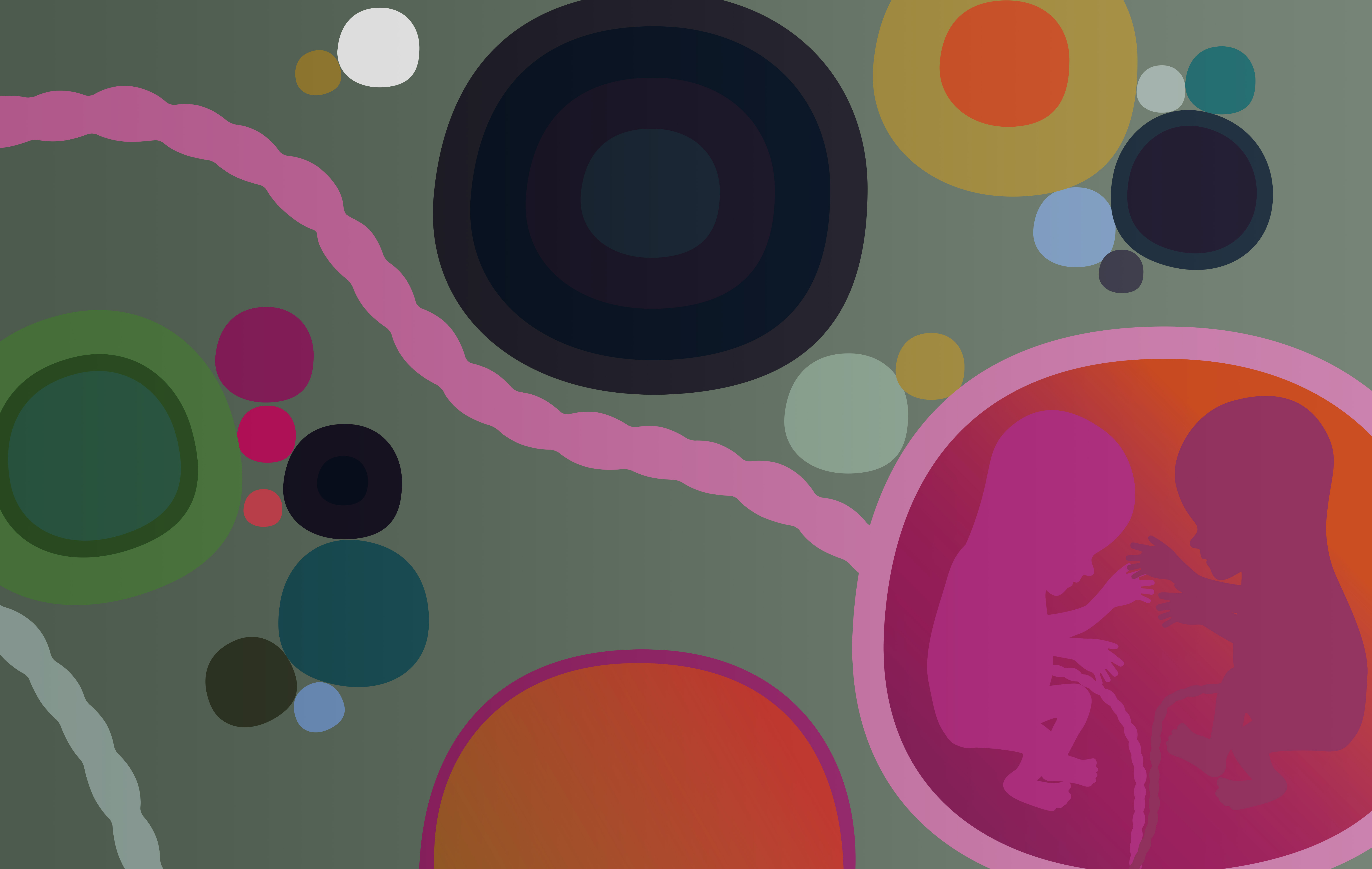 Colourful Kari Modén illustration of two babies in the womb