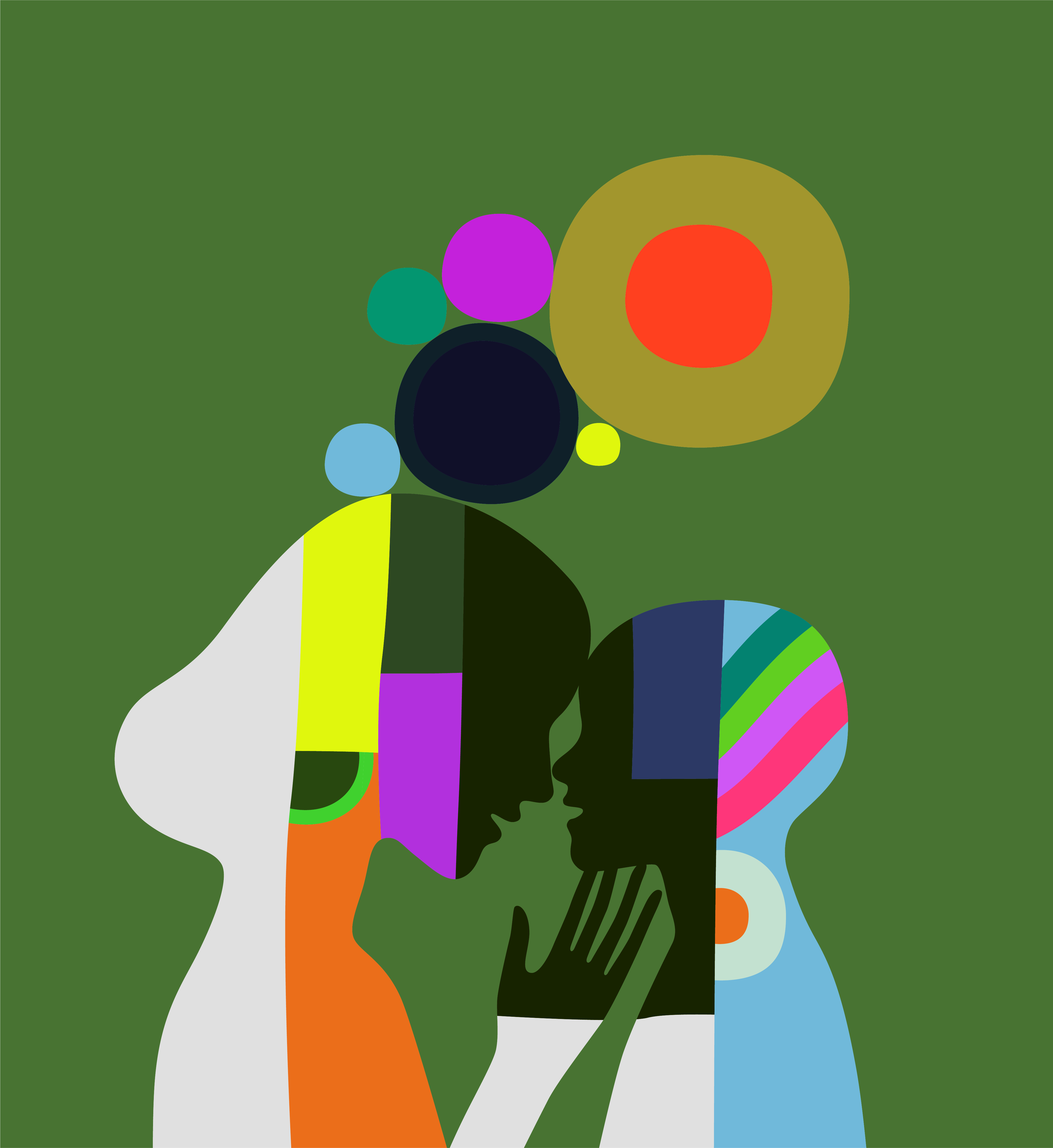Colourful Kari Modén illustration showing a silhouette of two humans touching