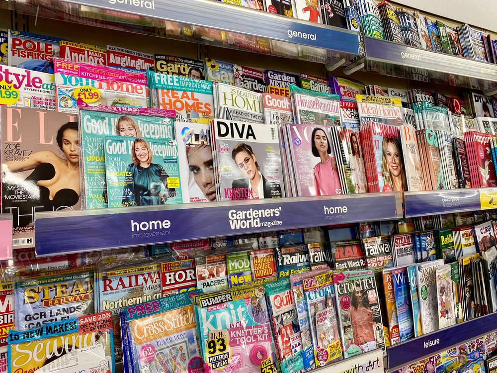 magazines on a shelf