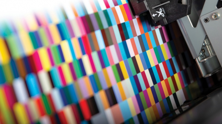 printing machine printing a colour patter